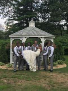 wedding party in front of the gazebo at The 228 in Sterling