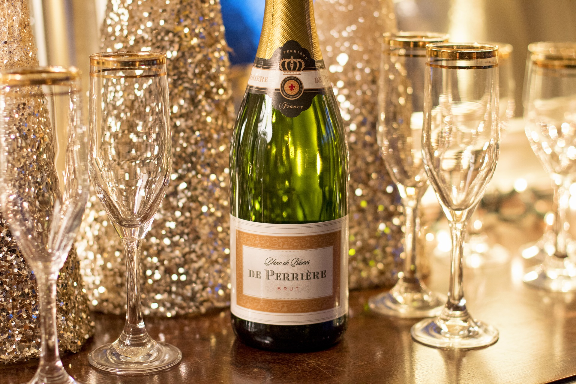 bottle of champagne and glasses for the wedding toast