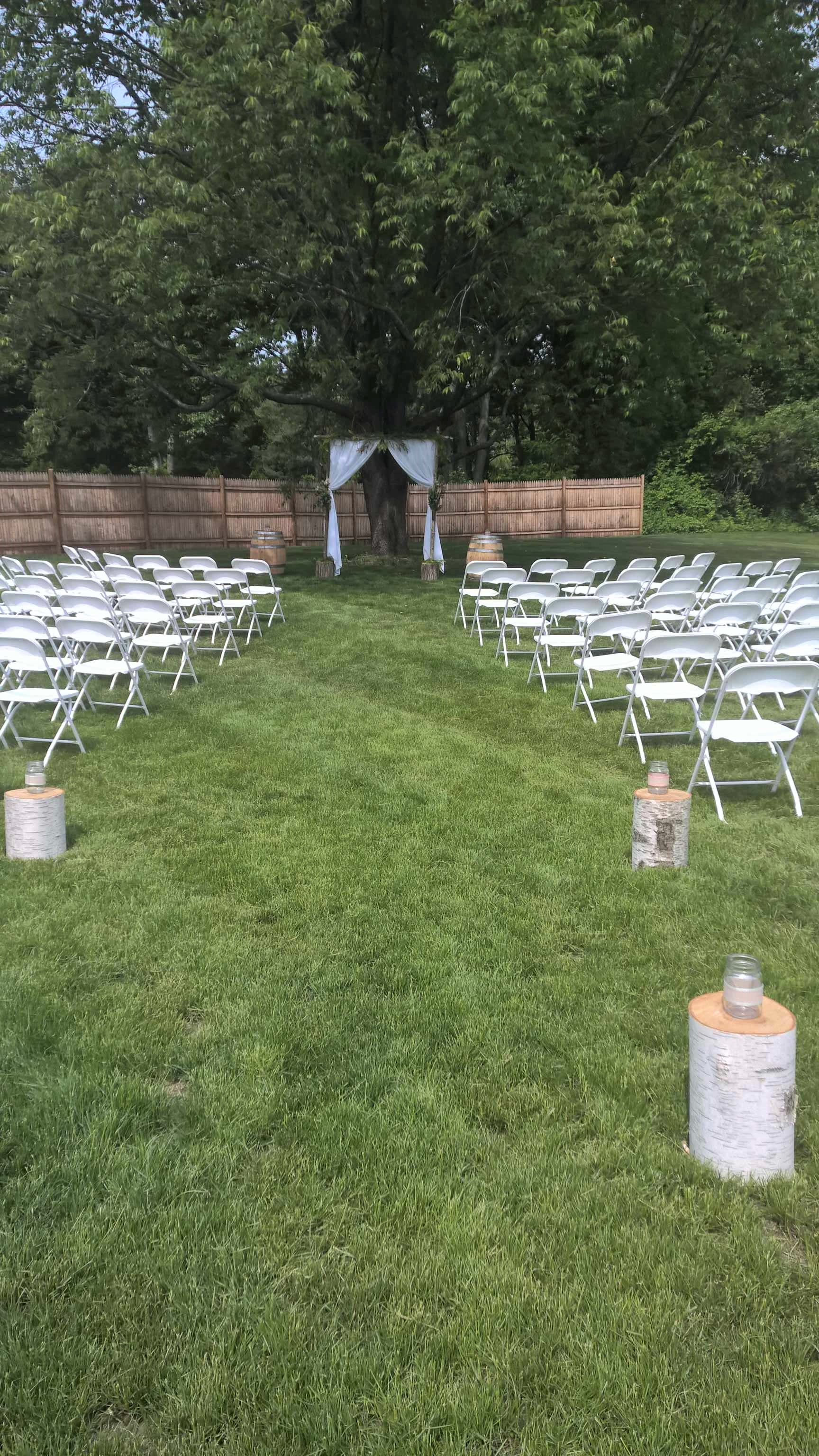 Outdoor wedding set up at The 228 in Sterling
