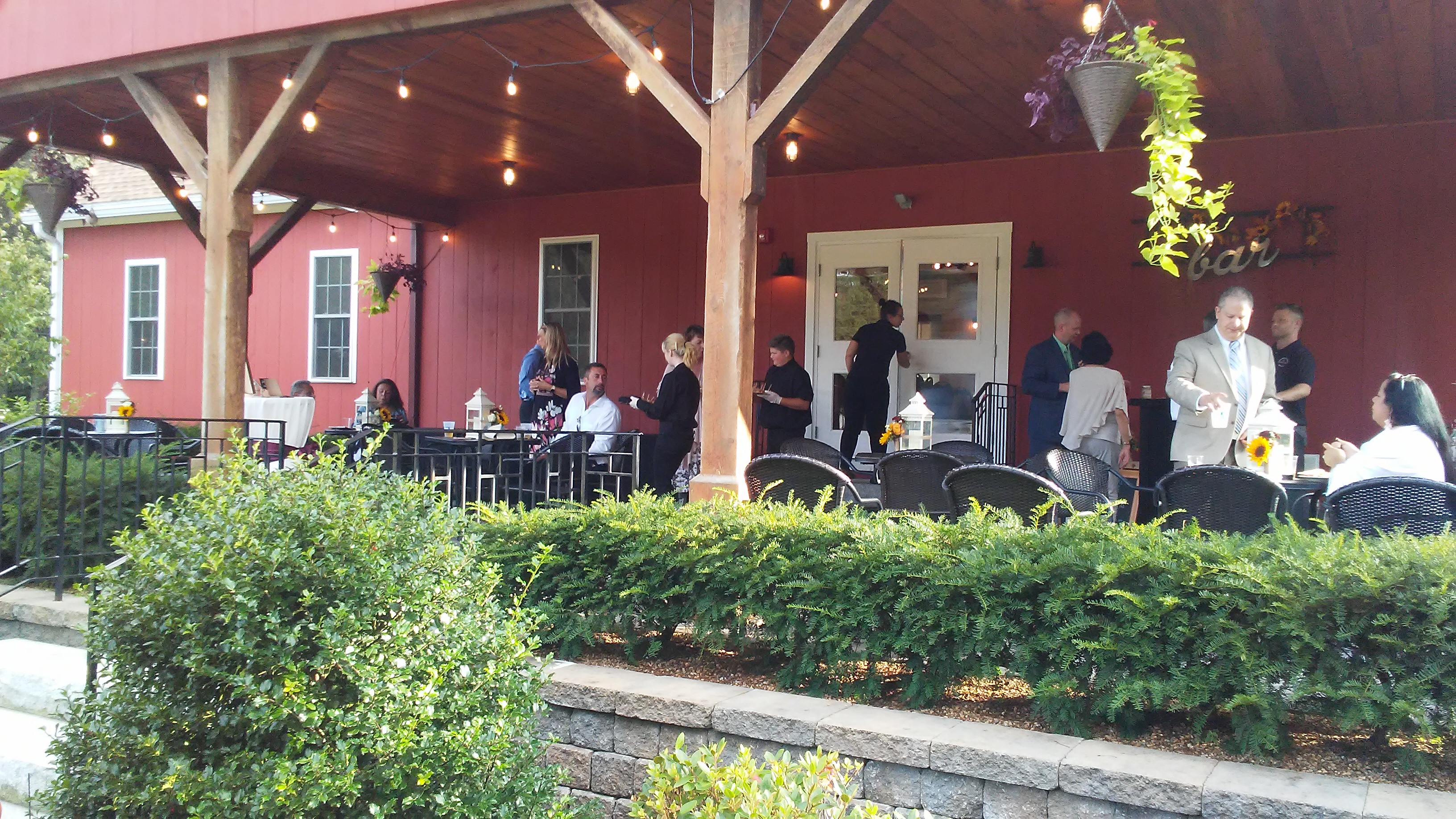 wedding reception on the patio at The 228