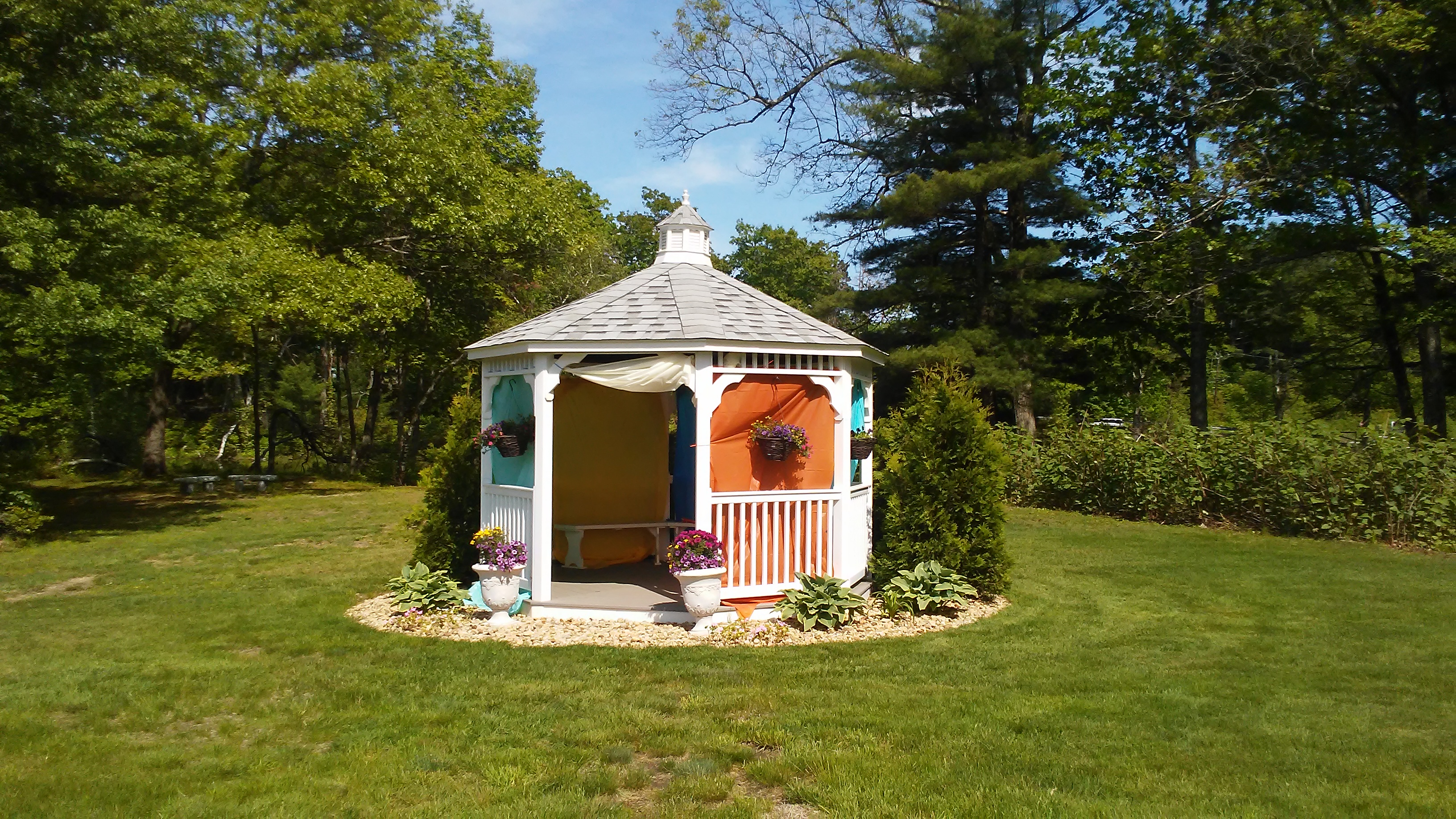 gazebo decorated for a wedding at The 228
