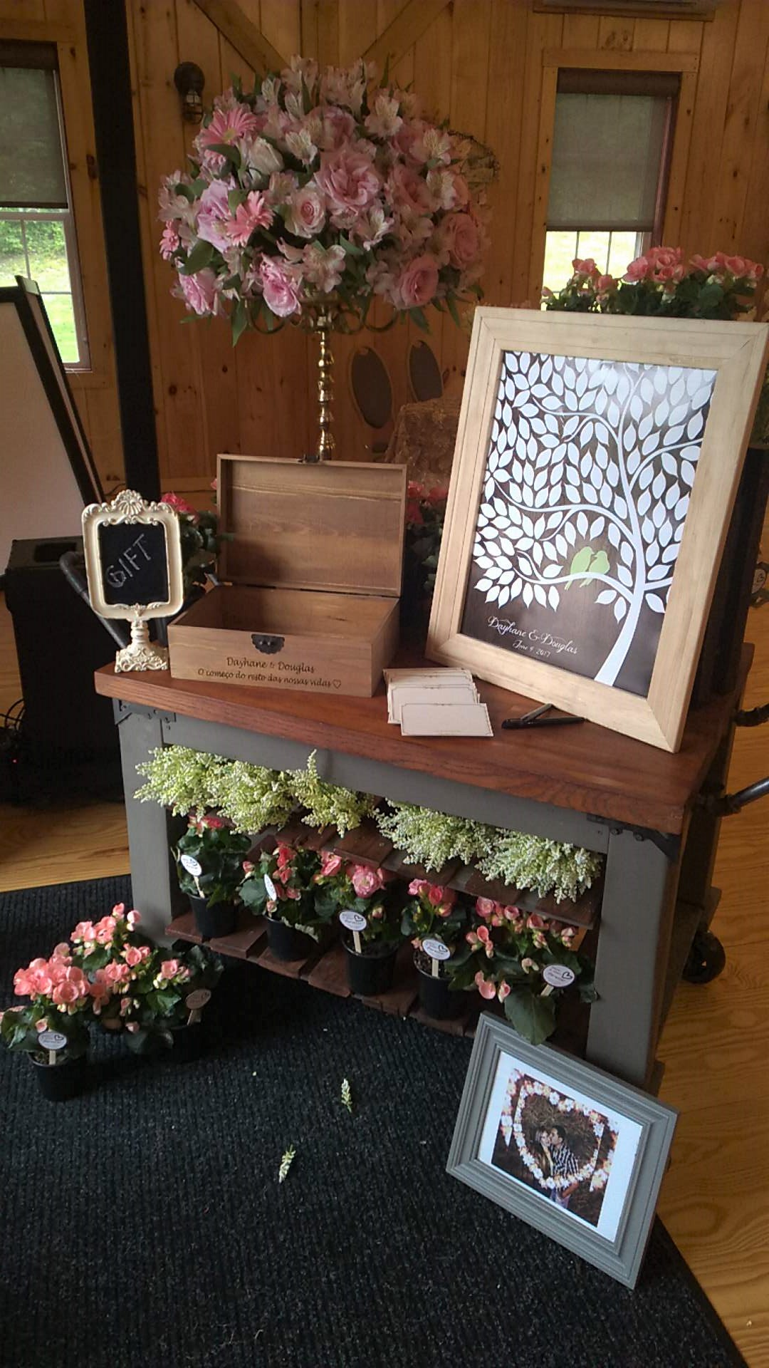 Guest book alternatives include tree pictures where guests each sign a leaf.